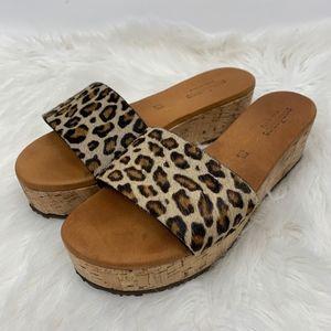 Sundance Calf Hair Leopard Platform Silde Sandals